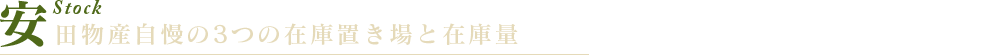 安田物産自慢の3つの在庫置き場と在庫量